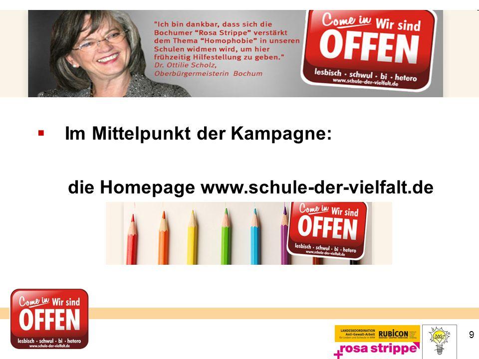 9  Im Mittelpunkt der Kampagne: die Homepage www.schule-der-vielfalt.de