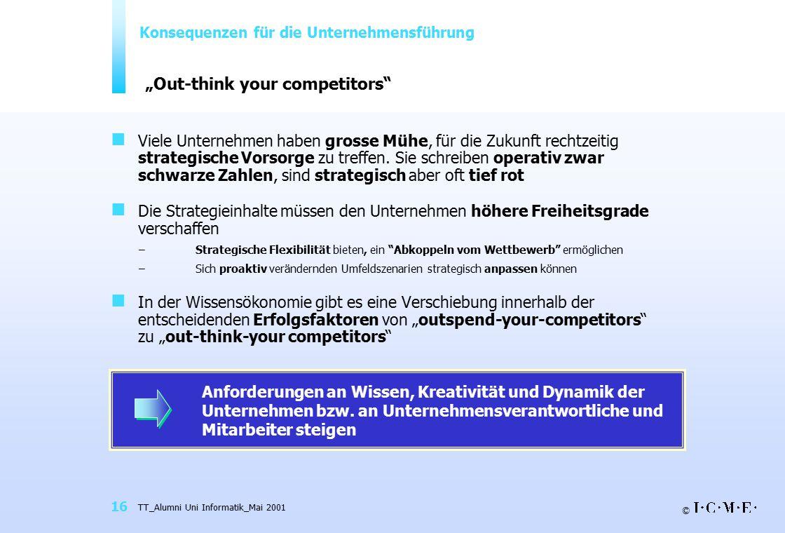 """© TT_Alumni Uni Informatik_Mai 2001 16 """"Out-think your competitors"""" Viele Unternehmen haben grosse Mühe, für die Zukunft rechtzeitig strategische Vors"""