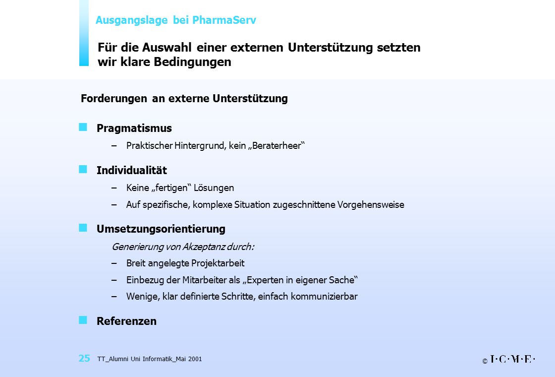 © TT_Alumni Uni Informatik_Mai 2001 25 Für die Auswahl einer externen Unterstützung setzten wir klare Bedingungen Pragmatismus –Praktischer Hintergrun