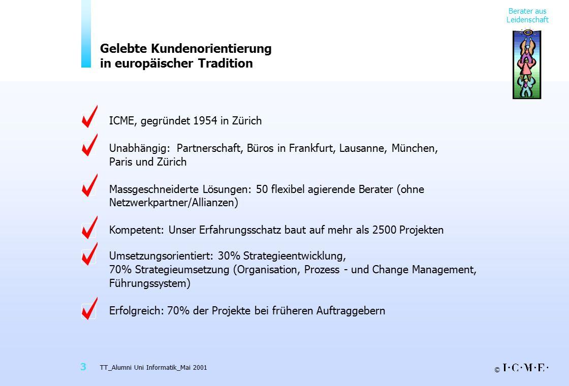 © TT_Alumni Uni Informatik_Mai 2001 3 Gelebte Kundenorientierung in europäischer Tradition Berater aus Leidenschaft ICME, gegründet 1954 in Zürich Una