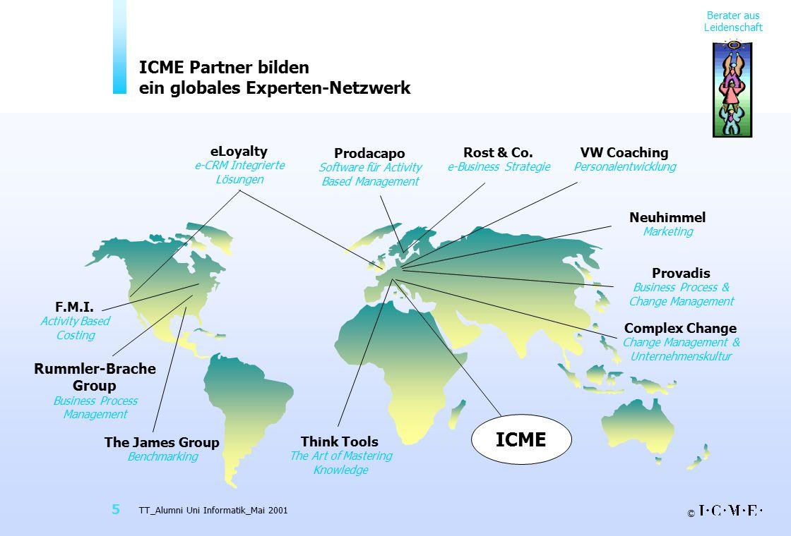 © TT_Alumni Uni Informatik_Mai 2001 5 Berater aus Leidenschaft ICME Partner bilden ein globales Experten-Netzwerk Complex Change Change Management & Unternehmenskultur F.M.I.