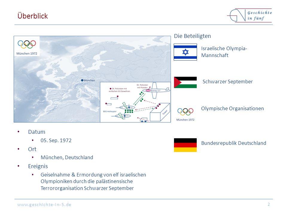 www.geschichte-in-5.de Überblick Datum 05. Sep. 1972 Ort München, Deutschland Ereignis Geiselnahme & Ermordung von elf israelischen Olympioniken durch