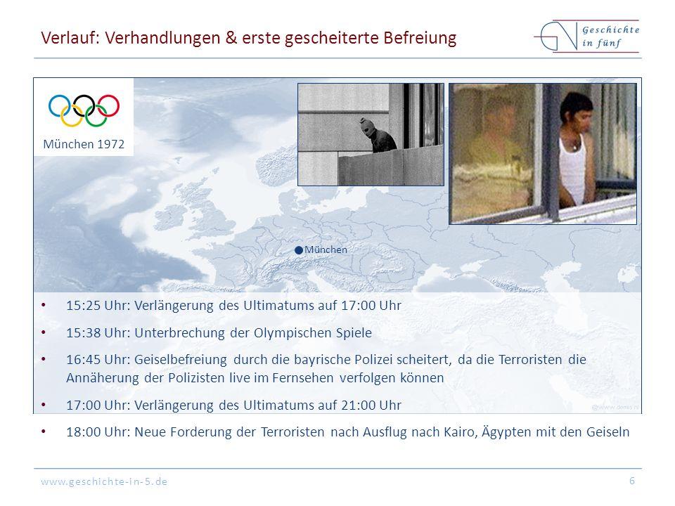 www.geschichte-in-5.de München München 1972 Verlauf: Gescheiterte Geiselbefreiung 22:06 Uhr: Bus-Transport der Terroristen & Geiseln zu 2 Helikoptern außerhalb des Gebäudes 22:18 Uhr: Flug der beiden Helikopter zum NATO-Flugplatz Fürstenfeldbruck 22:29 Uhr: Landung der Helikopter in Fürstenfeldbruck, wo eine Boeing 727 wartete 7 Fliegerhorst Fürstenfeldbruck