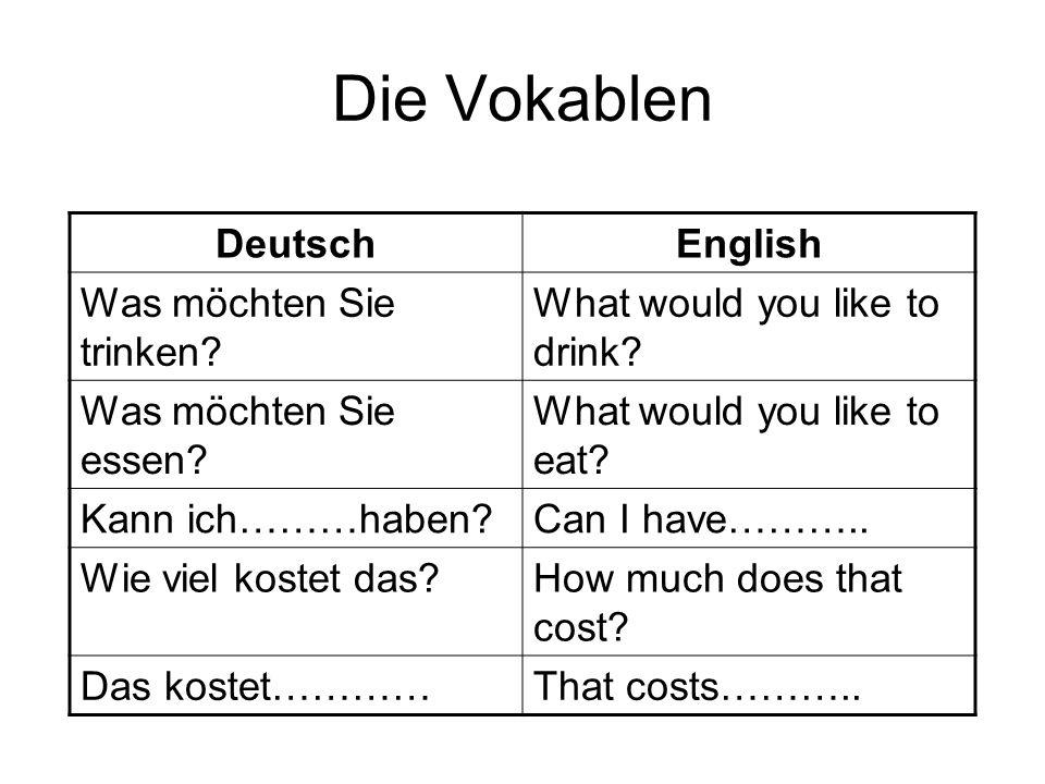 Die Vokablen DeutschEnglish Was möchten Sie trinken? What would you like to drink? Was möchten Sie essen? What would you like to eat? Kann ich………haben