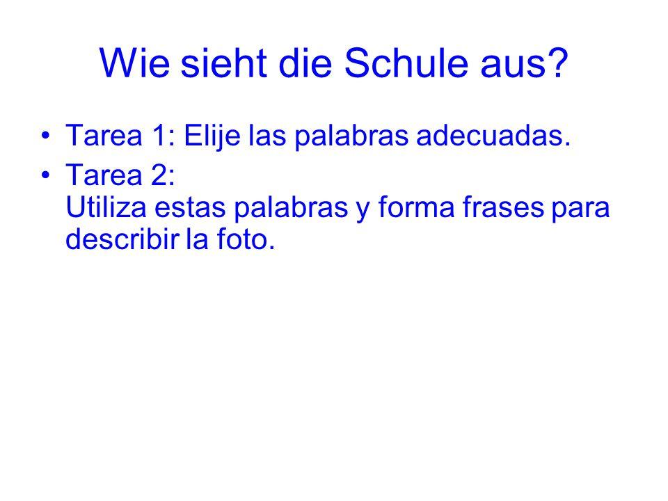 Wie sieht die Schule aus? Tarea 1: Elije las palabras adecuadas. Tarea 2: Utiliza estas palabras y forma frases para describir la foto.