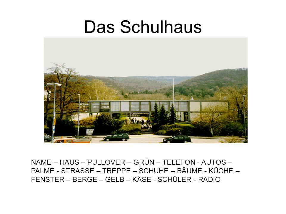 Das Schulhaus NAME – HAUS – PULLOVER – GRÜN – TELEFON - AUTOS – PALME - STRASSE – TREPPE – SCHUHE – BÄUME - KÜCHE – FENSTER – BERGE – GELB – KÄSE - SC