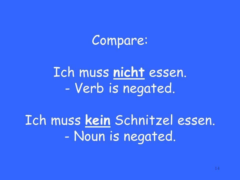14 Compare: Ich muss nicht essen. - Verb is negated. Ich muss kein Schnitzel essen. - Noun is negated.