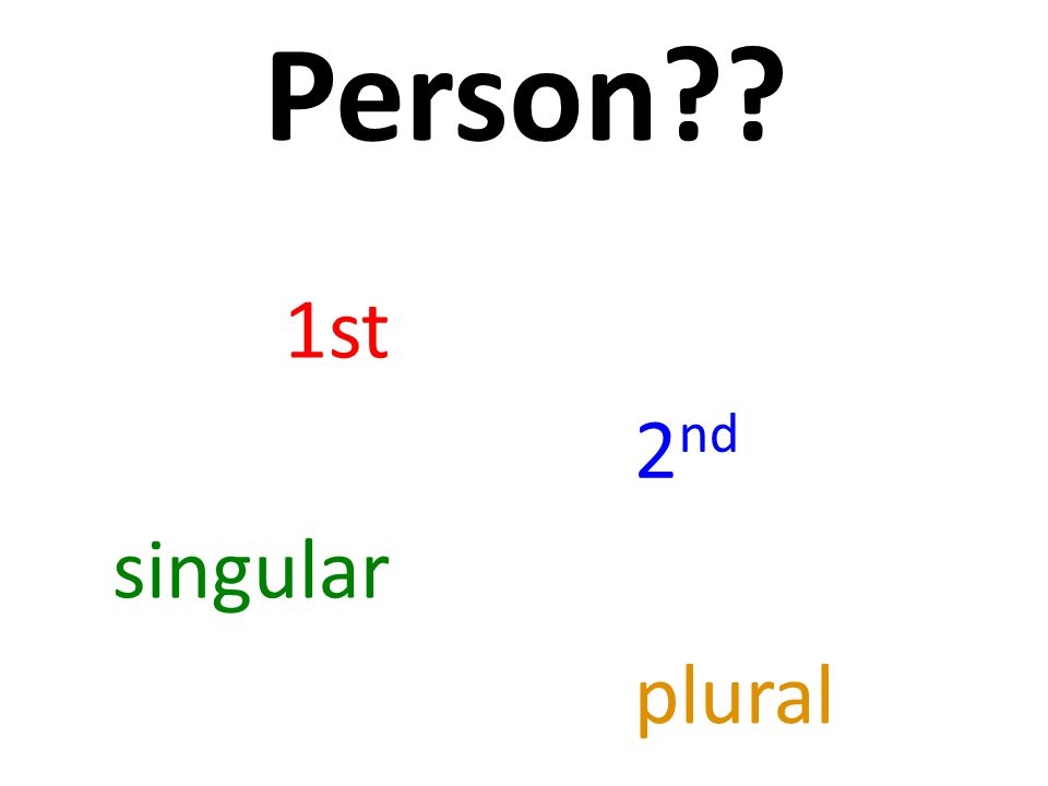Person 2 nd singular 1st plural