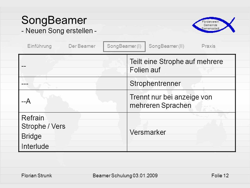 EinführungDer BeamerSongBeamer (I)SongBeamer (II)Praxis Förderverein Gemeinde Siemensstadt Florian StrunkBeamer Schulung 03.01.2009Folie 12 SongBeamer