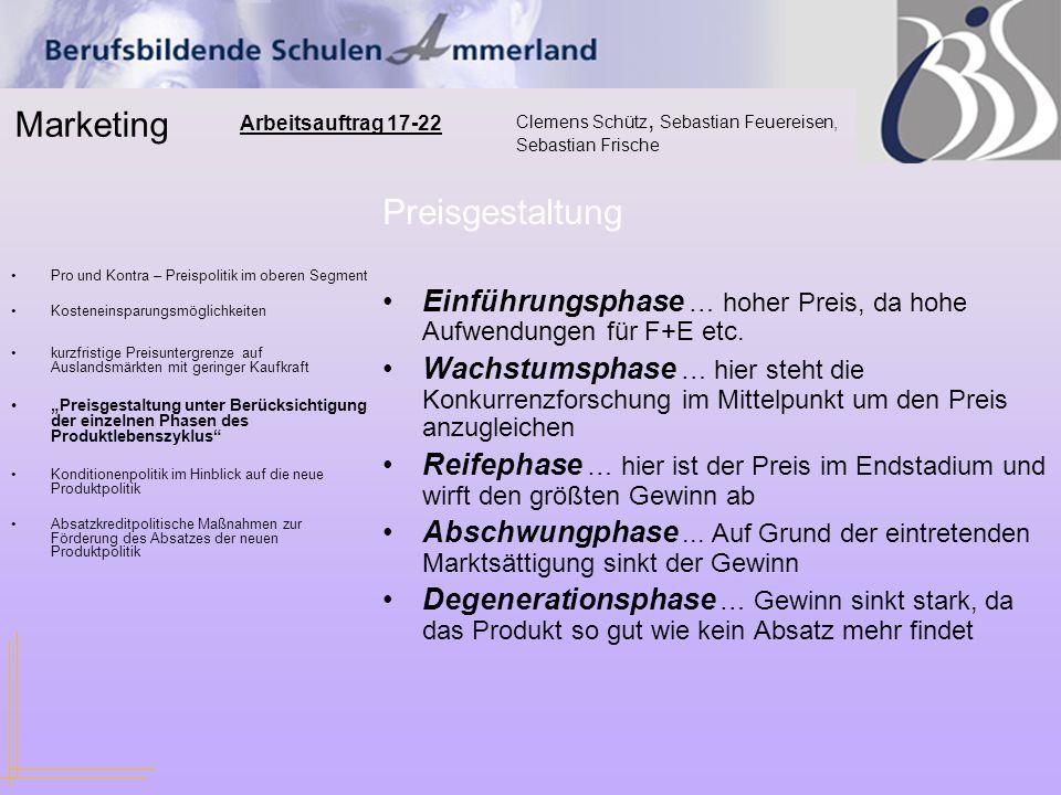 Marketing Clemens Schütz, Sebastian Feuereisen, Sebastian Frische Arbeitsauftrag 17-22 Pro und Kontra – Preispolitik im oberen Segment Kosteneinsparun