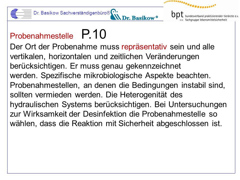 Dr. Basikow Sachverständigenbüro® Probenahmestelle P.10 Der Ort der Probenahme muss repräsentativ sein und alle vertikalen, horizontalen und zeitliche