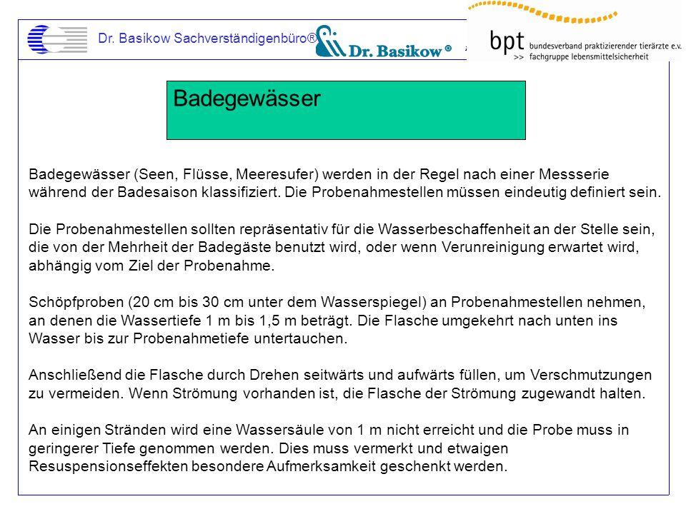 Dr. Basikow Sachverständigenbüro® Badegewässer Badegewässer (Seen, Flüsse, Meeresufer) werden in der Regel nach einer Messserie während der Badesaison