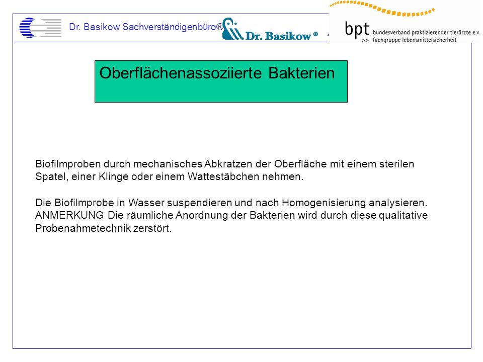 Dr. Basikow Sachverständigenbüro® Oberflächenassoziierte Bakterien Biofilmproben durch mechanisches Abkratzen der Oberfläche mit einem sterilen Spatel