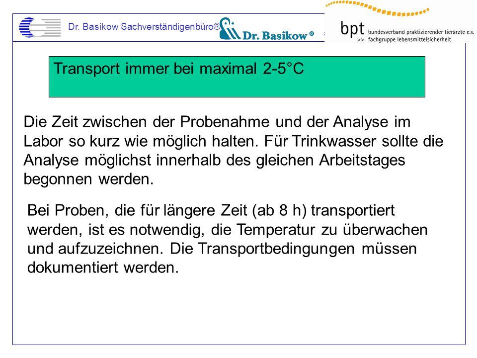 Dr. Basikow Sachverständigenbüro® Transport immer bei maximal 2-5°C Die Zeit zwischen der Probenahme und der Analyse im Labor so kurz wie möglich halt