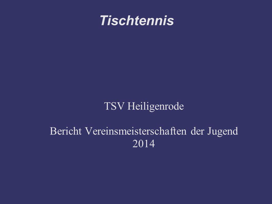 Bericht Am 09.05.2014, von 17.15 Uhr bis 20.15 Uhr fanden die Vereinsmeisterschaften der Jugend des TSV Heiligenrode statt.