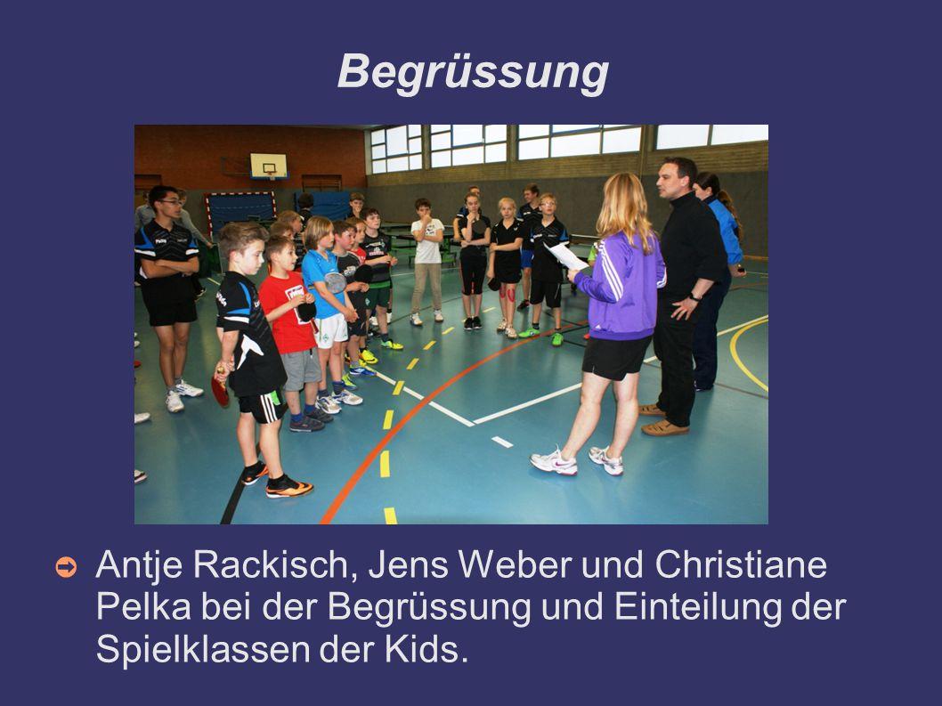 Begrüssung ➲ Antje Rackisch, Jens Weber und Christiane Pelka bei der Begrüssung und Einteilung der Spielklassen der Kids.