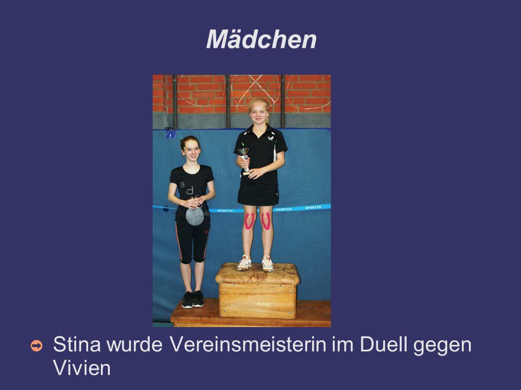Mädchen ➲ Stina wurde Vereinsmeisterin im Duell gegen Vivien