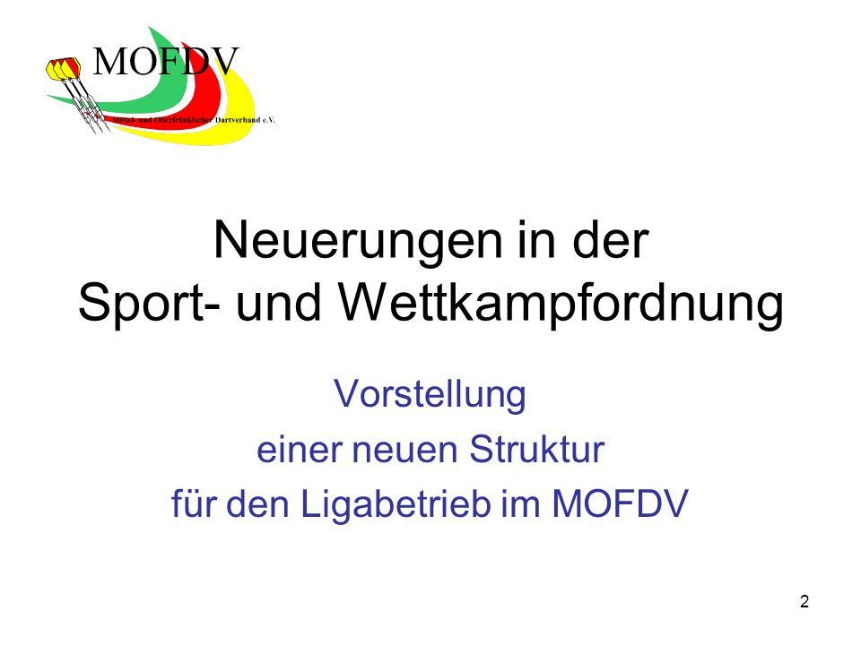 2 Neuerungen in der Sport- und Wettkampfordnung Vorstellung einer neuen Struktur für den Ligabetrieb im MOFDV