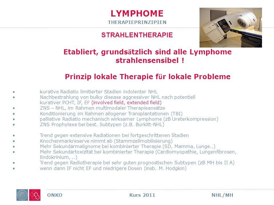 LYMPHOME THERAPIEPRINZIPIEN Chemotherapie ONKO Kurs 2011NHL/MH PALLIATIVE CHT i.d.R.