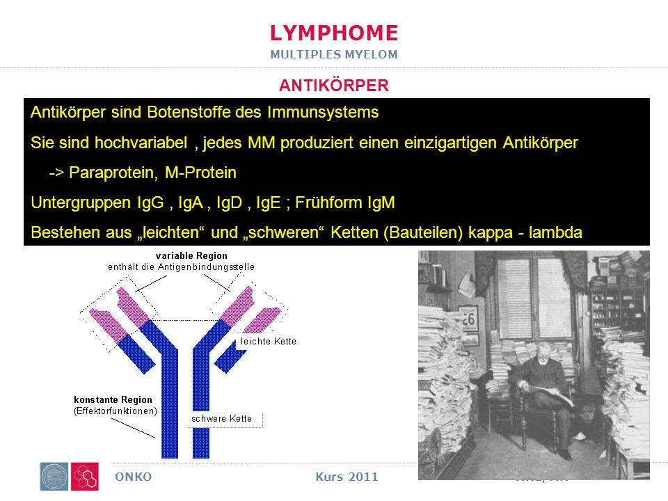 LYMPHOME MULTIPLES MYELOM PARAPROTEIN ONKO Kurs 2011NHL/MH ABER : Paraprotein beweist kein MM nur < 10% der Pat.