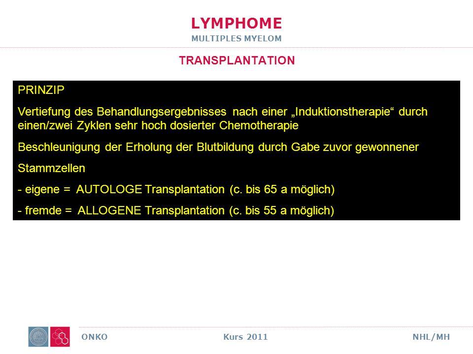 LYMPHOME MULTIPLES MYELOM TRANSPLANTATION ERGEBNISSE ONKO Kurs 2011NHL/MH Attal et al., NEJM 349 (2003) Doppel- Hochdosis 42% nach 7 J.