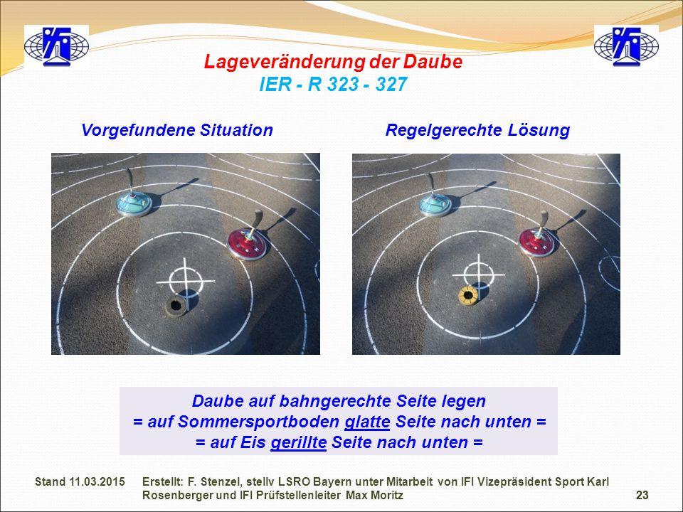 23 Lageveränderung der Daube IER - R 323 - 327 Daube auf bahngerechte Seite legen = auf Sommersportboden glatte Seite nach unten = = auf Eis gerillte Seite nach unten = Vorgefundene SituationRegelgerechte Lösung 23 Erstellt: F.