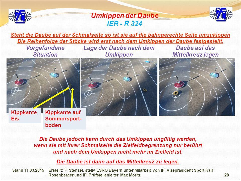 28 Umkippen der Daube IER - R 324 Die Daube jedoch kann durch das Umkippen ungültig werden, wenn sie mit ihrer Schmalseite die Zielfeldbegrenzung nur