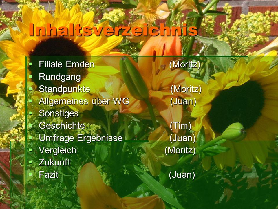 Inhaltsverzeichnis  Filiale Emden (Moritz)  Rundgang  Standpunkte (Moritz)  Allgemeines über WG (Juan)  Sonstiges  Geschichte (Tim)  Umfrage Er