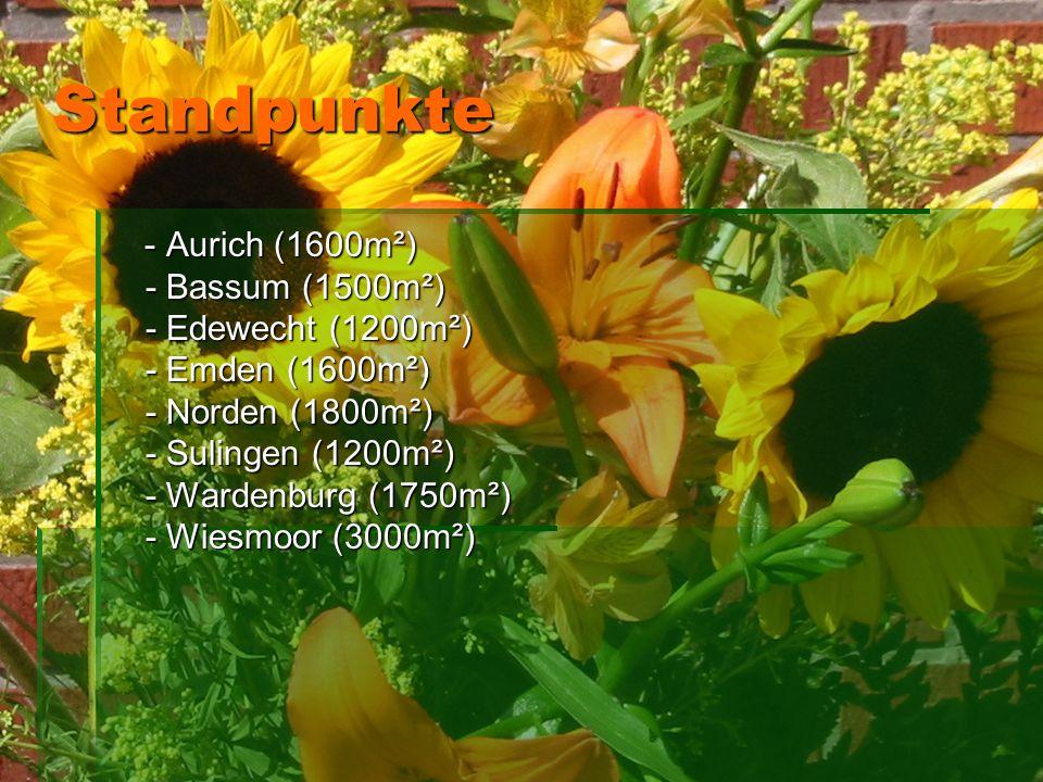 Standpunkte Standpunkte - Aurich (1600m²) - Bassum (1500m²) - Edewecht (1200m²) - Emden (1600m²) - Norden (1800m²) - Sulingen (1200m²) - Wardenburg (1