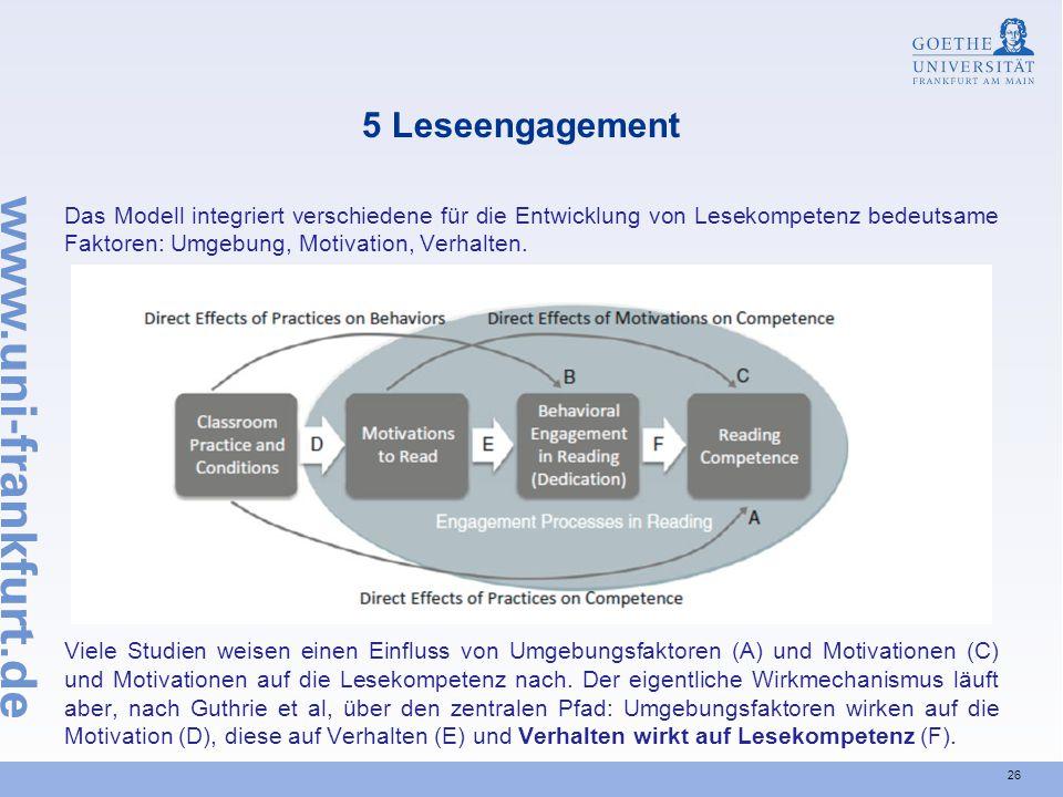 26 5 Leseengagement Das Modell integriert verschiedene für die Entwicklung von Lesekompetenz bedeutsame Faktoren: Umgebung, Motivation, Verhalten. Vie
