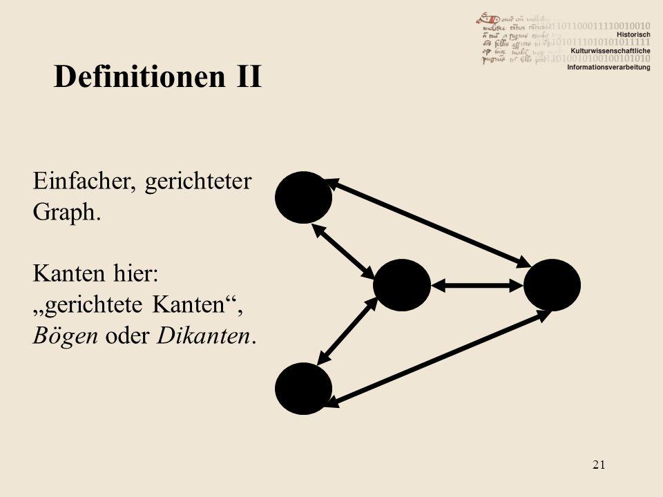 """Definitionen II Einfacher, gerichteter Graph. Kanten hier: """"gerichtete Kanten"""", Bögen oder Dikanten. 21"""