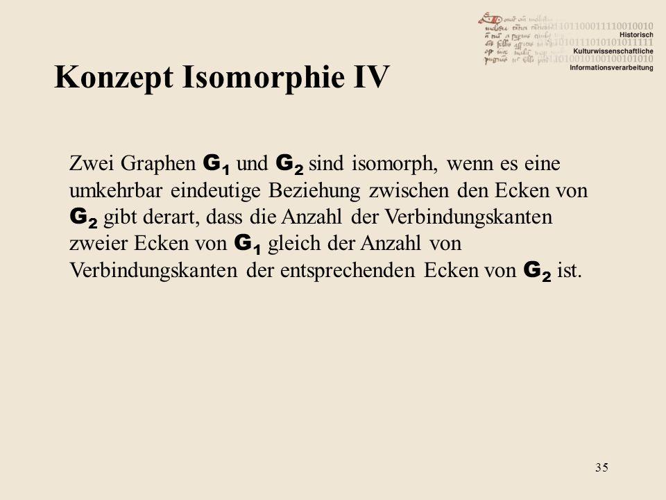 Konzept Isomorphie IV Zwei Graphen G 1 und G 2 sind isomorph, wenn es eine umkehrbar eindeutige Beziehung zwischen den Ecken von G 2 gibt derart, dass
