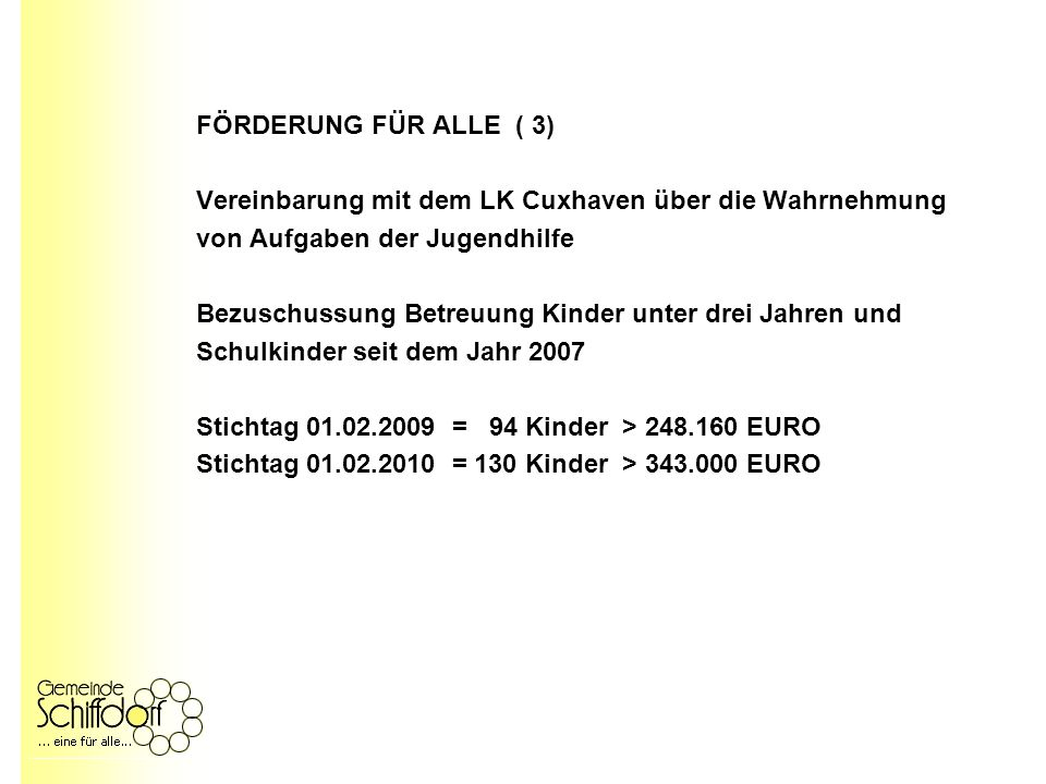 FÖRDERUNG FÜR ALLE ( 3) Vereinbarung mit dem LK Cuxhaven über die Wahrnehmung von Aufgaben der Jugendhilfe Bezuschussung Betreuung Kinder unter drei Jahren und Schulkinder seit dem Jahr 2007 Stichtag 01.02.2009 = 94 Kinder > 248.160 EURO Stichtag 01.02.2010 = 130 Kinder > 343.000 EURO
