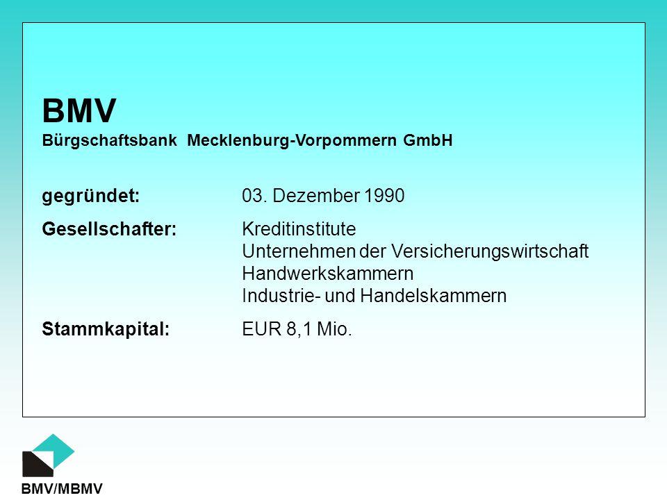 BMV/MBMV gegründet:03. Dezember 1990 Gesellschafter:Kreditinstitute Unternehmen der Versicherungswirtschaft Handwerkskammern Industrie- und Handelskam