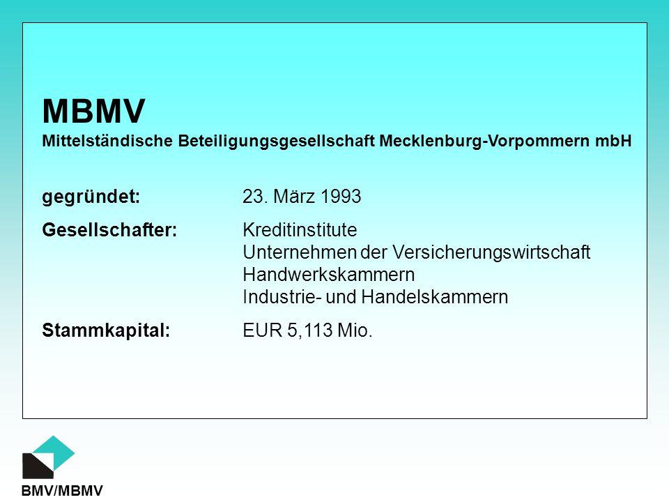 BMV/MBMV gegründet:23. März 1993 Gesellschafter:Kreditinstitute Unternehmen der Versicherungswirtschaft Handwerkskammern Industrie- und Handelskammern