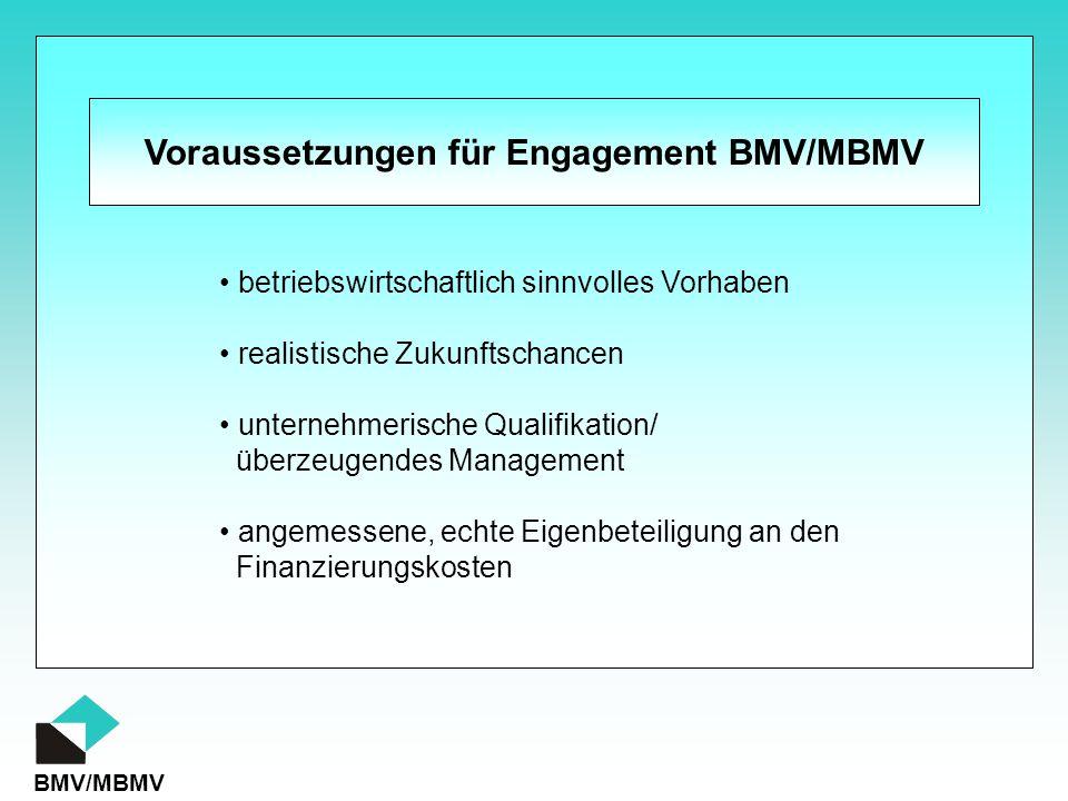 BMV/MBMV Voraussetzungen für Engagement BMV/MBMV betriebswirtschaftlich sinnvolles Vorhaben realistische Zukunftschancen unternehmerische Qualifikatio