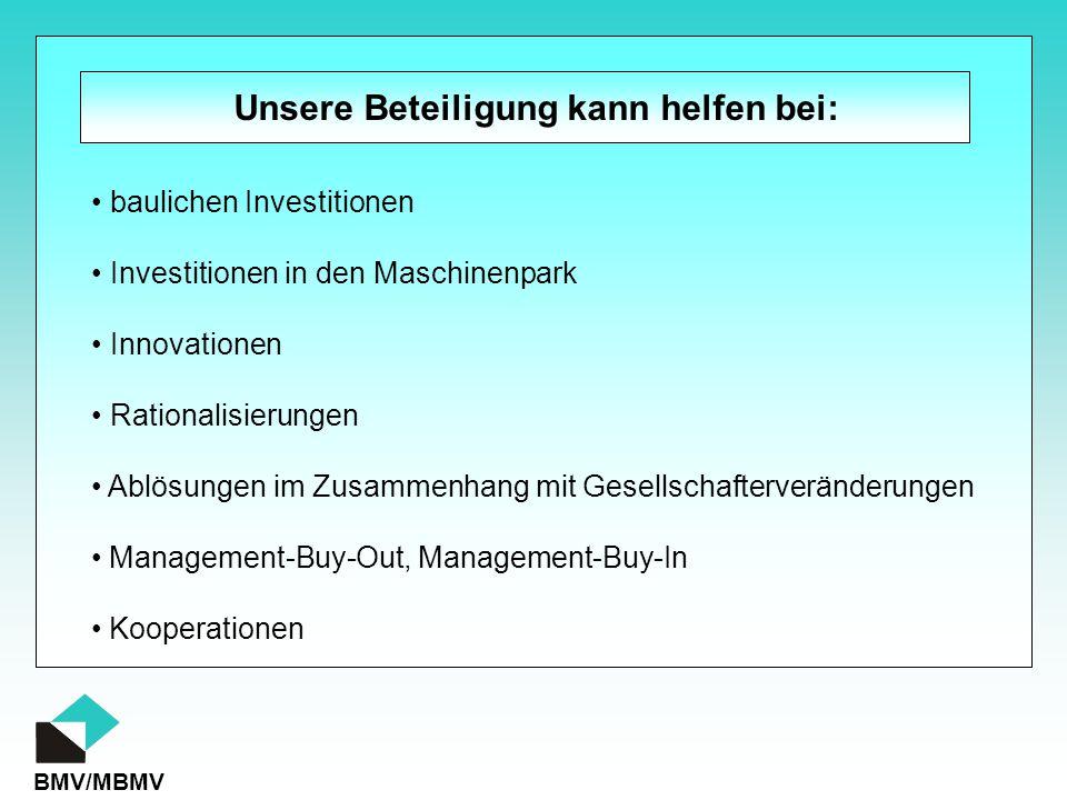 BMV/MBMV Unsere Beteiligung kann helfen bei: baulichen Investitionen Investitionen in den Maschinenpark Innovationen Rationalisierungen Ablösungen im Zusammenhang mit Gesellschafterveränderungen Management-Buy-Out, Management-Buy-In Kooperationen