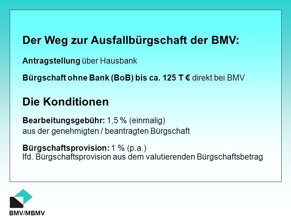 BMV/MBMV Der Weg zur Ausfallbürgschaft der BMV: Antragstellung über Hausbank Bürgschaft ohne Bank (BoB) bis ca. 125 T € direkt bei BMV Die Konditionen
