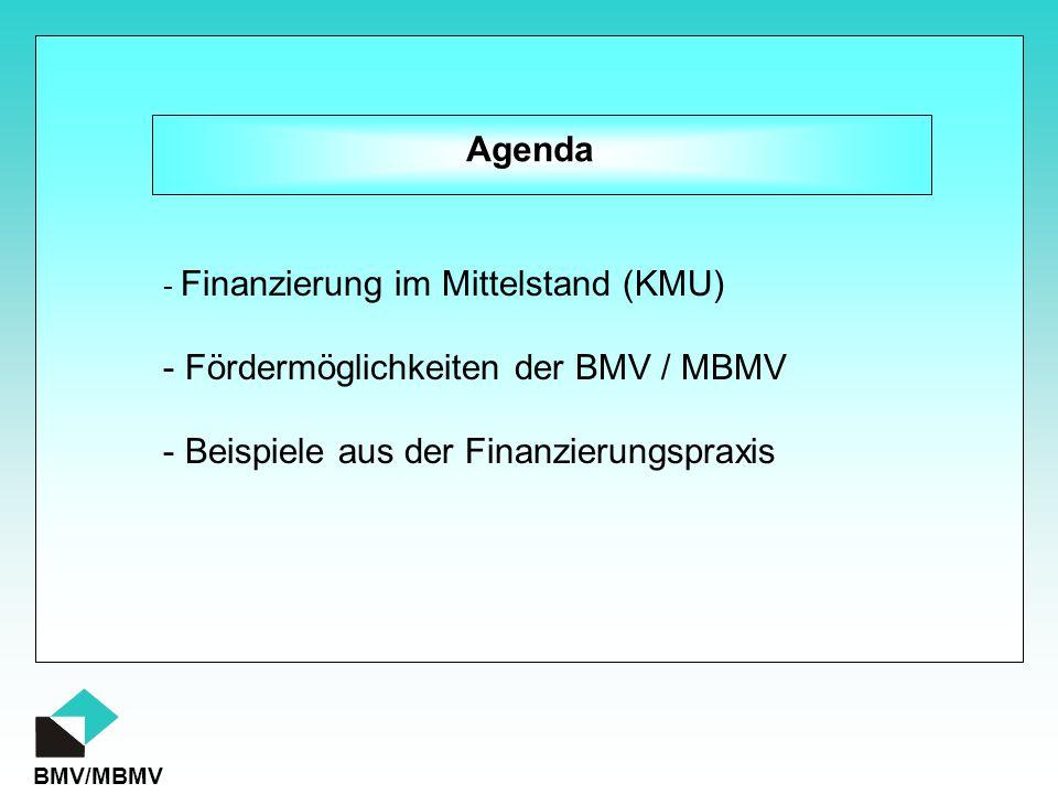 BMV/MBMV Agenda - Finanzierung im Mittelstand (KMU) - Beispiele aus der Finanzierungspraxis - Fördermöglichkeiten der BMV / MBMV