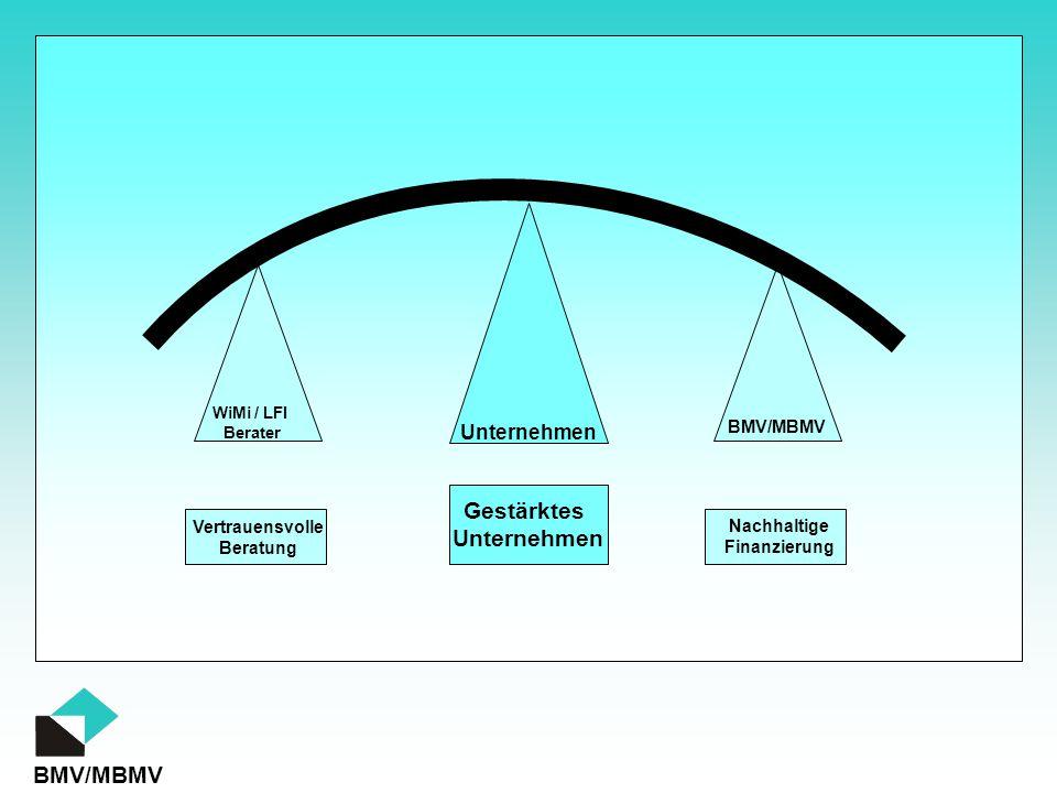 BMV/MBMV WiMi / LFI Berater Unternehmen Vertrauensvolle Beratung Nachhaltige Finanzierung Gestärktes Unternehmen