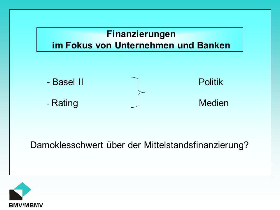 BMV/MBMV Finanzierungen im Fokus von Unternehmen und Banken Damoklesschwert über der Mittelstandsfinanzierung? - Rating - Basel IIPolitik Medien
