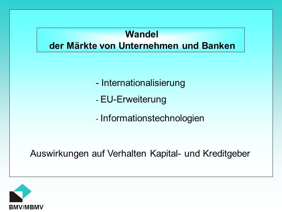 BMV/MBMV Wandel der Märkte von Unternehmen und Banken - Informationstechnologien Auswirkungen auf Verhalten Kapital- und Kreditgeber - EU-Erweiterung - Internationalisierung