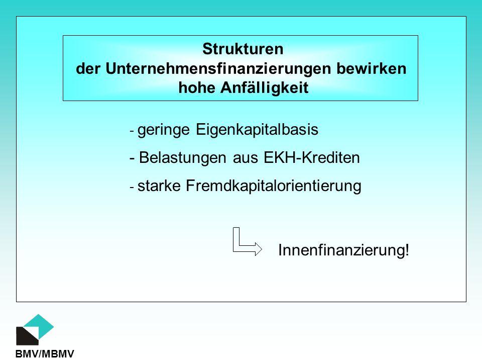 BMV/MBMV Strukturen der Unternehmensfinanzierungen bewirken hohe Anfälligkeit - geringe Eigenkapitalbasis - starke Fremdkapitalorientierung - Belastungen aus EKH-Krediten Innenfinanzierung!