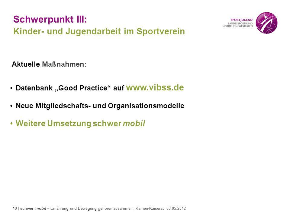 10 | schwer mobil – Ernährung und Bewegung gehören zusammen, Kamen-Kaiserau 03.05.2012 Schwerpunkt III: Kinder- und Jugendarbeit im Sportverein Aktuel