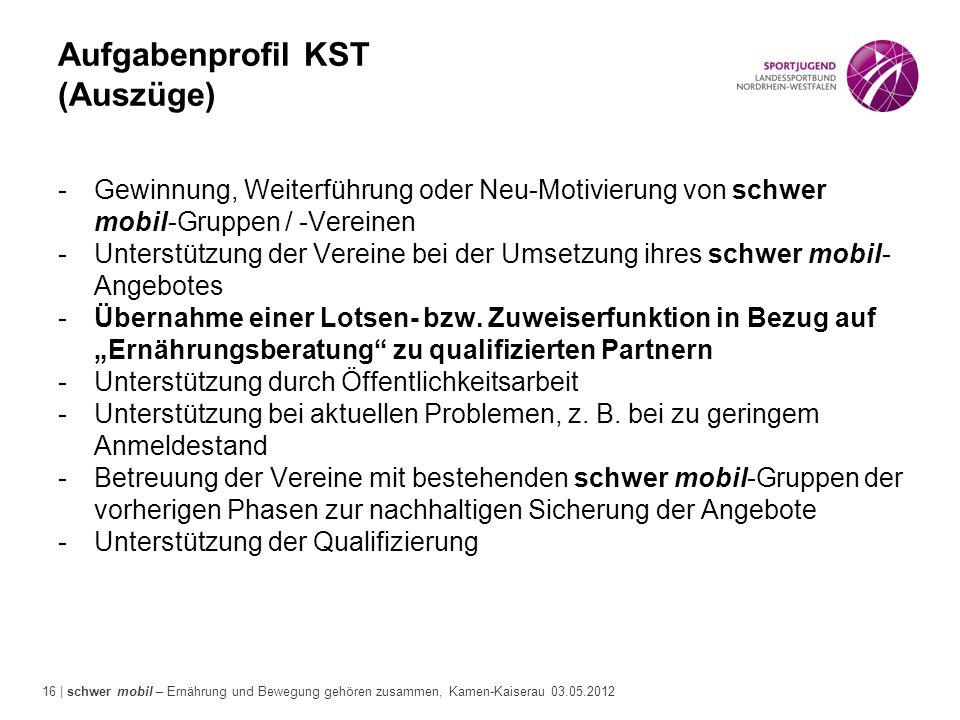 16 | schwer mobil – Ernährung und Bewegung gehören zusammen, Kamen-Kaiserau 03.05.2012 Aufgabenprofil KST (Auszüge) -Gewinnung, Weiterführung oder Neu