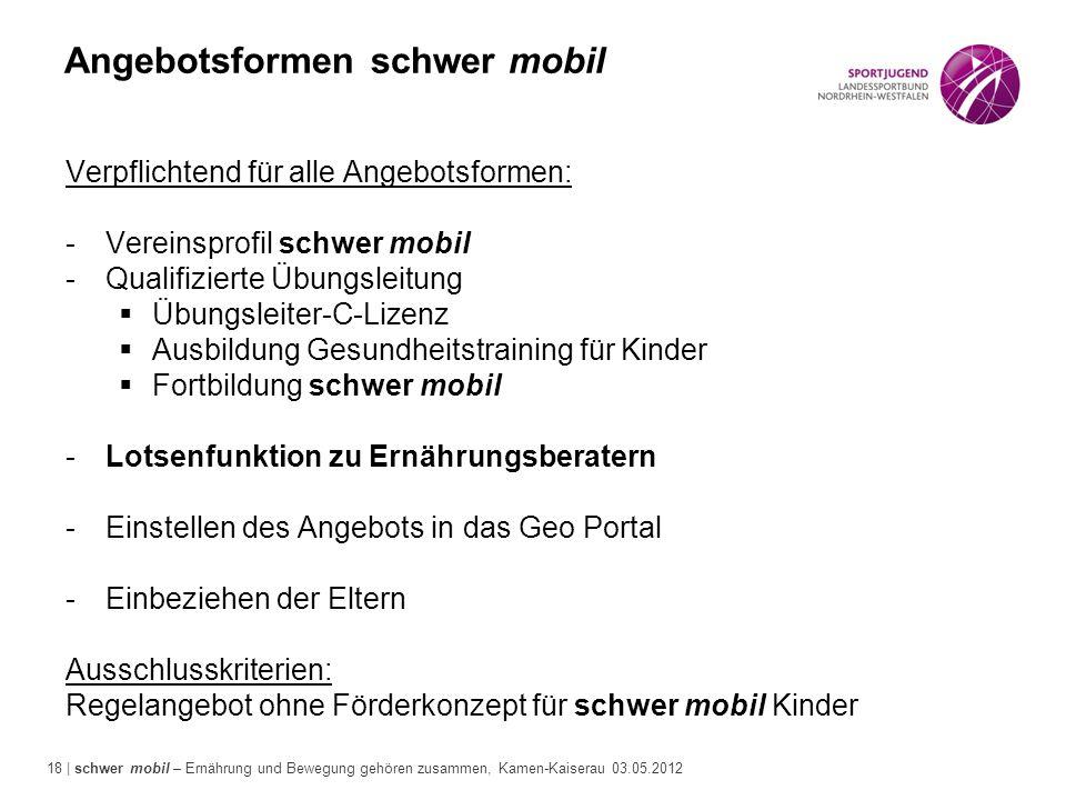 18 | schwer mobil – Ernährung und Bewegung gehören zusammen, Kamen-Kaiserau 03.05.2012 Angebotsformen schwer mobil Verpflichtend für alle Angebotsform
