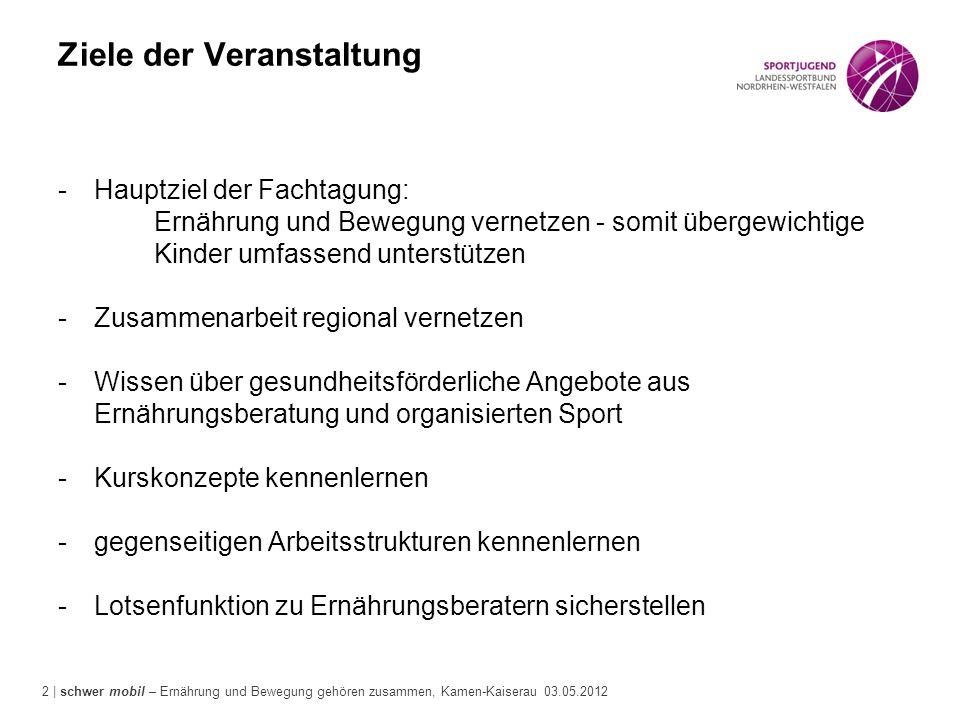 2 | schwer mobil – Ernährung und Bewegung gehören zusammen, Kamen-Kaiserau 03.05.2012 Ziele der Veranstaltung -Hauptziel der Fachtagung: Ernährung und