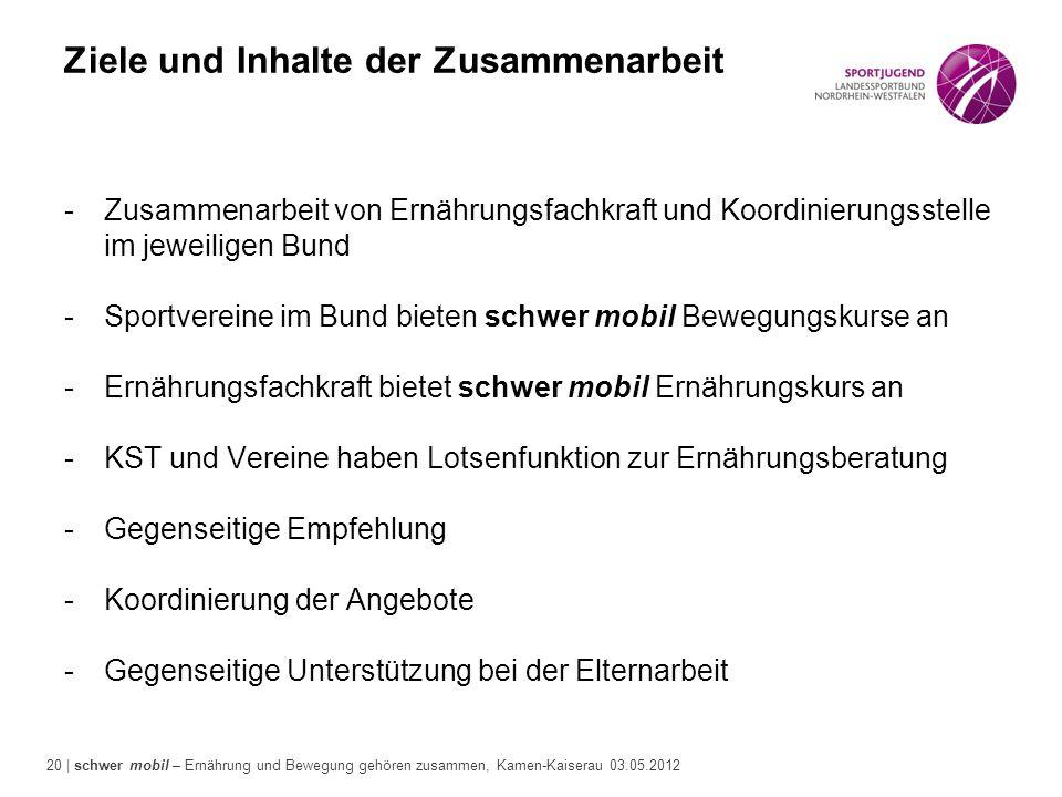 20 | schwer mobil – Ernährung und Bewegung gehören zusammen, Kamen-Kaiserau 03.05.2012 Ziele und Inhalte der Zusammenarbeit -Zusammenarbeit von Ernähr