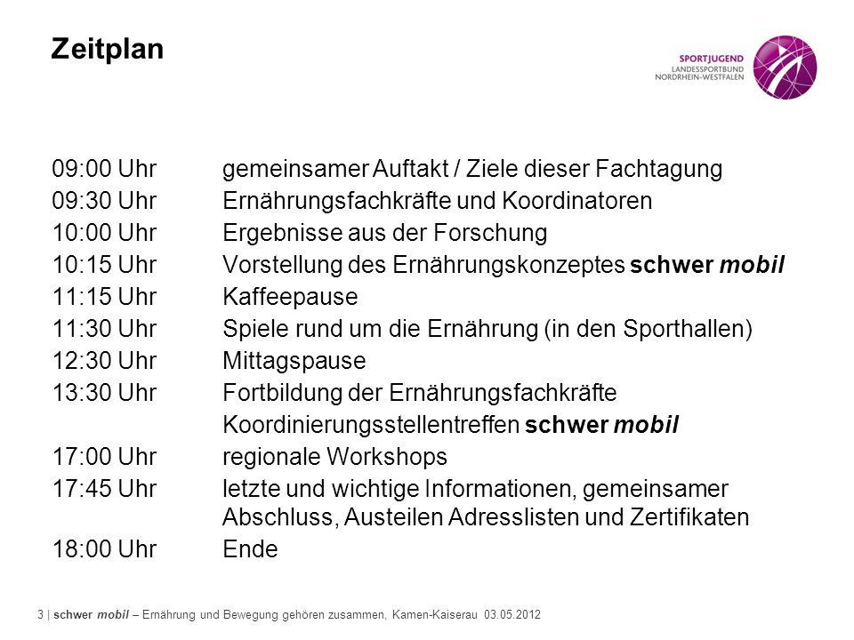 3 | schwer mobil – Ernährung und Bewegung gehören zusammen, Kamen-Kaiserau 03.05.2012 Zeitplan 09:00 Uhrgemeinsamer Auftakt / Ziele dieser Fachtagung