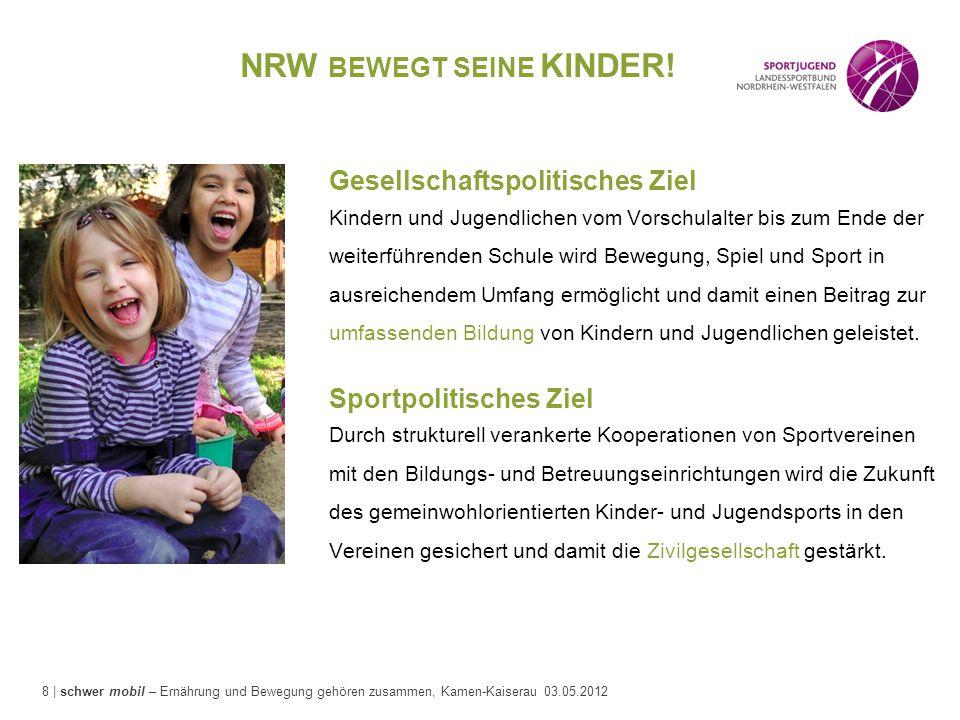 8 | schwer mobil – Ernährung und Bewegung gehören zusammen, Kamen-Kaiserau 03.05.2012 NRW BEWEGT SEINE KINDER! Gesellschaftspolitisches Ziel Kindern u